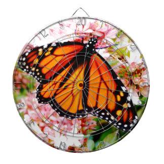 Orange Monarch on pink flowers Dartboard