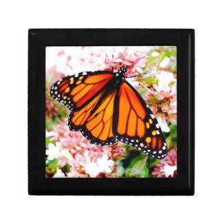 Orange Monarch on pink flowers Keepsake Box