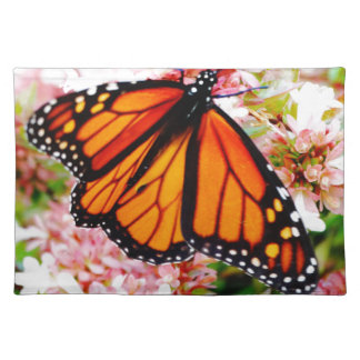 Orange Monarch on pink flowers Placemat