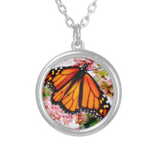 Orange Monarch on pink flowers Silver Plated Necklace