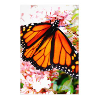 Orange Monarch on pink flowers Stationery