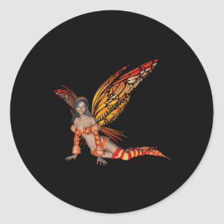 Orange Monarch Pixie Butterfly Fairy 3 - Classic Round Sticker