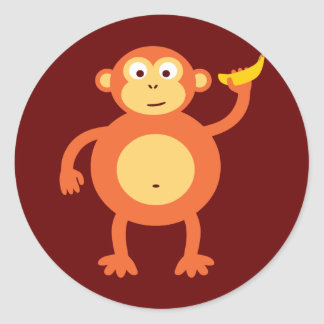 Orange Monkey Classic Round Sticker