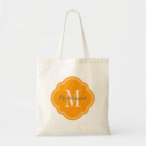 Orange Monogram Bridesmaid Tote Bag