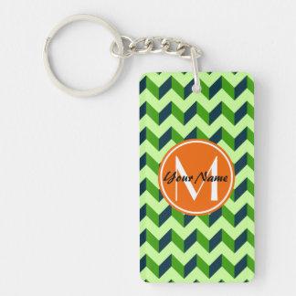 Orange Monogram Green Chevron Patchwork Pattern Double-Sided Rectangular Acrylic Keychain