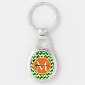 Orange Monogram Green Chevron Patchwork Pattern Silver-Colored Oval Keychain