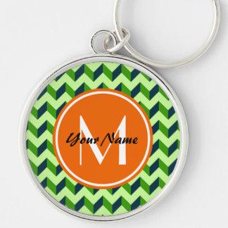 Orange Monogram Green Chevron Patchwork Pattern Silver-Colored Round Keychain