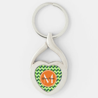 Orange Monogram Green Chevron Patchwork Pattern Silver-Colored Twisted Heart Keychain