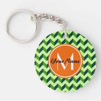 Orange Monogram Green Chevron Patchwork Pattern Single-Sided Round Acrylic Keychain