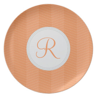 Orange Monogram Thin Chevron Pattern Party Plate