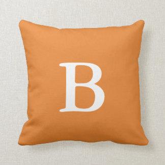 Orange Monogram Throw Pillow