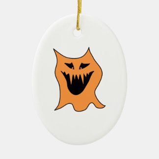 Orange Monster. Ceramic Oval Ornament