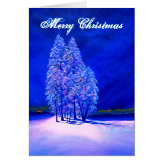 Orange Moon Peeking at Frosty Christmas Trees Card