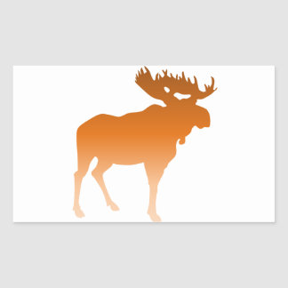 Orange Moose Rectangle Sticker