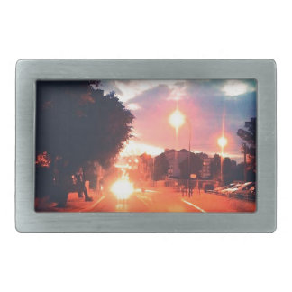 Orange morning rectangular belt buckle