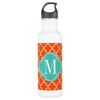Orange Moroccan Tiles Lattice Personalized 710 Ml Water Bottle