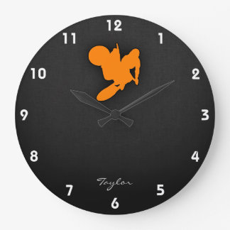 Orange Motocross Large Clock
