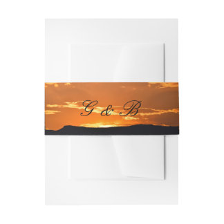 Orange mountain sunset invitation belly band