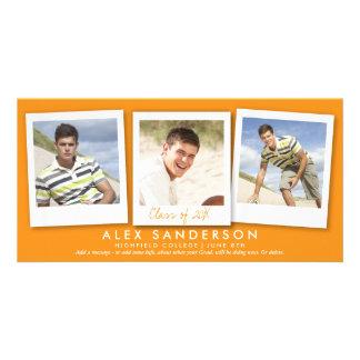 Orange Multi Photo Graduation Announcement Card