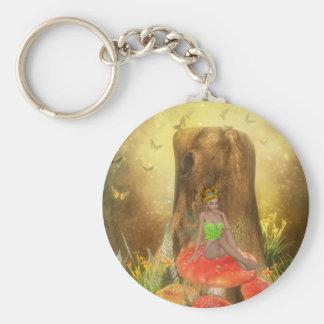 Orange Mushroom Fairy Key Ring Keychain
