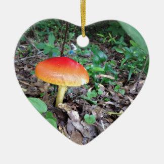 Orange Mushroom in Forest Ceramic Ornament