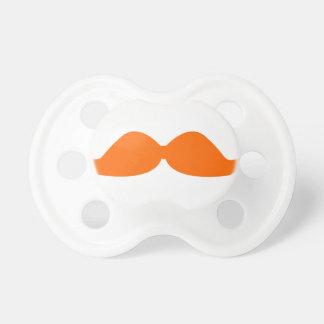 Orange Mustache Pacifier
