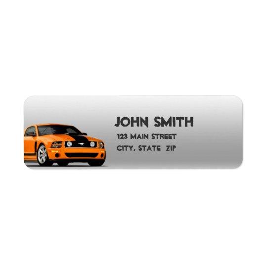 Orange Mustang Return Address Labels