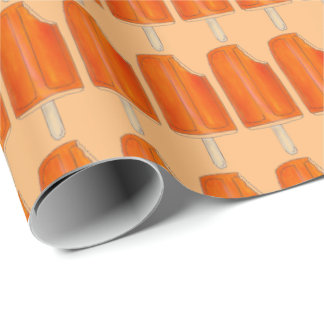 Orange n' Ice Cream Creamsicles Popsicles Wrap Wrapping Paper