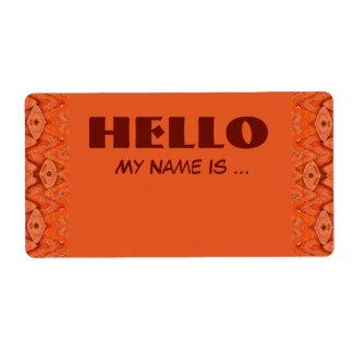 orange name badge