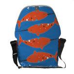 Orange Narwhal Messenger Bag