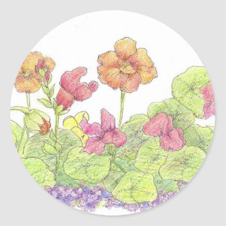 Orange Nasturtiums Cottage Flower Garden Art Classic Round Sticker