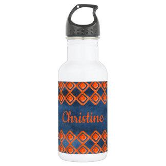Orange Navy Blue Watercolor Pattern 532 Ml Water Bottle