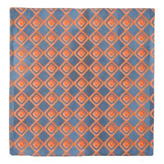 Orange Navy Blue Watercolor Pattern Duvet Cover