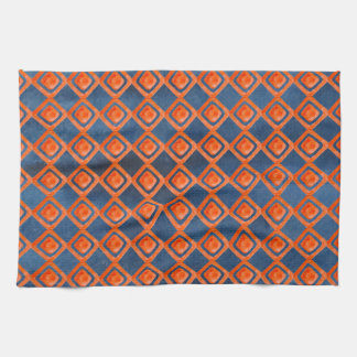 Orange Navy Blue Watercolor Pattern Kitchen Towel