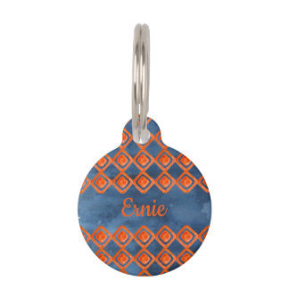Orange Navy Blue Watercolor Pattern Pet ID Tag
