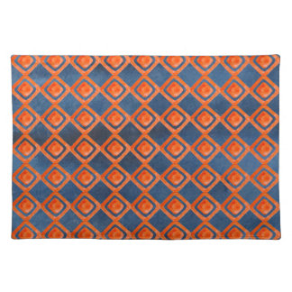 Orange Navy Blue Watercolor Pattern Placemat