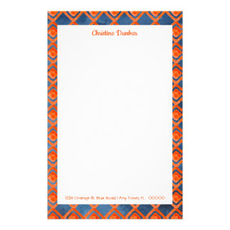 Orange Navy Blue Watercolor Pattern Stationery
