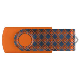 Orange Navy Blue Watercolor Pattern USB Flash Drive