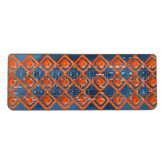 Orange Navy Blue Watercolor Pattern Wireless Keyboard