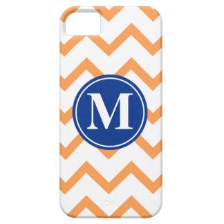 Orange Navy Chevron Monogram iPhone 5 Covers