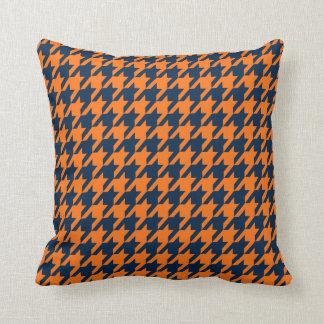 Orange/Navy Houndstooth Throw Pillow
