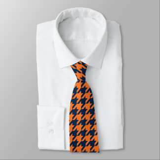 Orange/Navy Houndstooth Tie