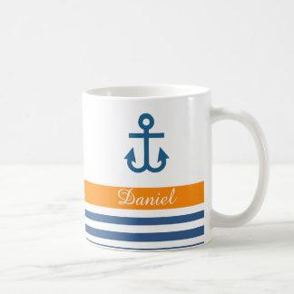 Orange Navy Nautical Theme Classic White Coffee Mug
