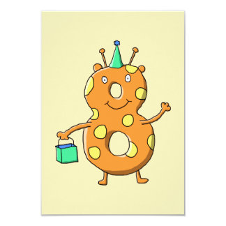 Orange number 8 monster for 8th Birthday. Card