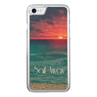 Orange Ocean Sunset with Sail Away Carved iPhone 8/7 Case
