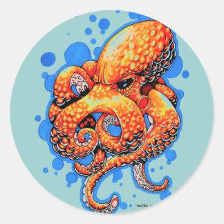 orange octopus classic round sticker