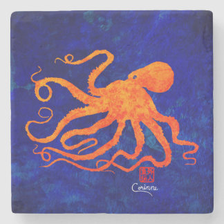 Orange Octopus Facing Left - Marble Coaster