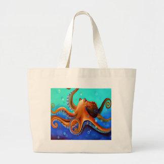 Orange Octopus Large Tote Bag