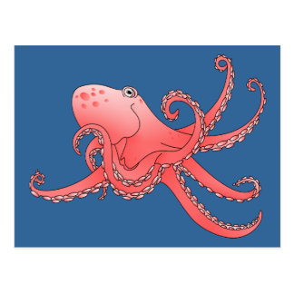 Orange octopus postcard
