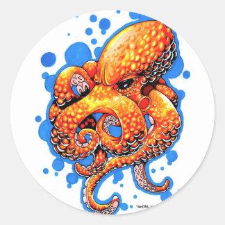 orange octopus round sticker